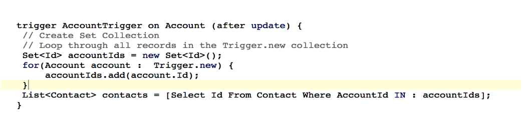 A correct example of trigger in Salesforce using SOQL in a loop