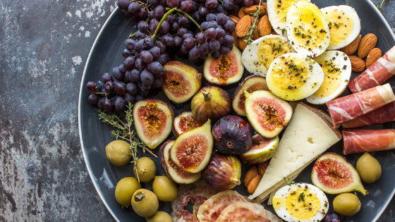 Grapes, figs, cheeses, and proscuitto