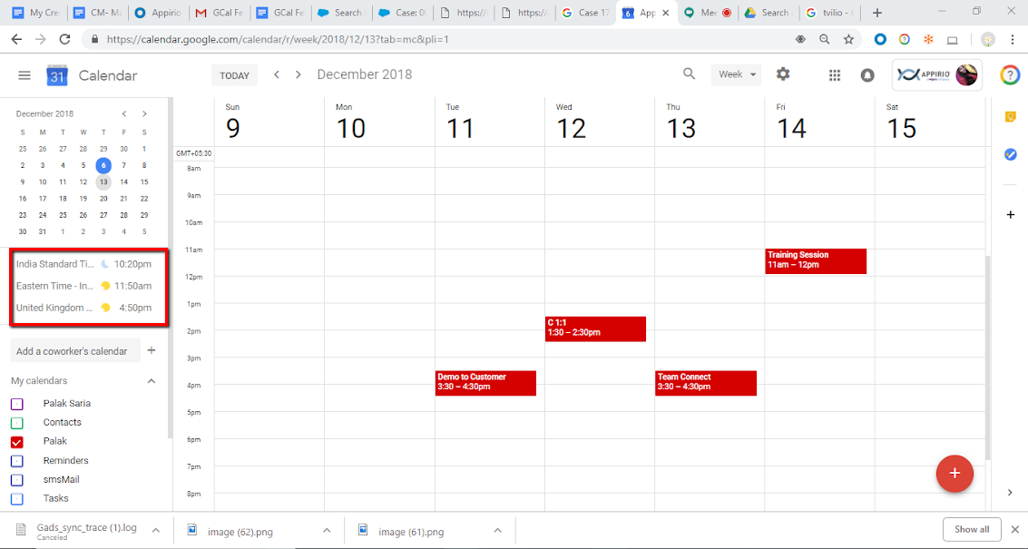 A screenshot of Google Calendar month-view and instructions on how to set up the Worldclock feature