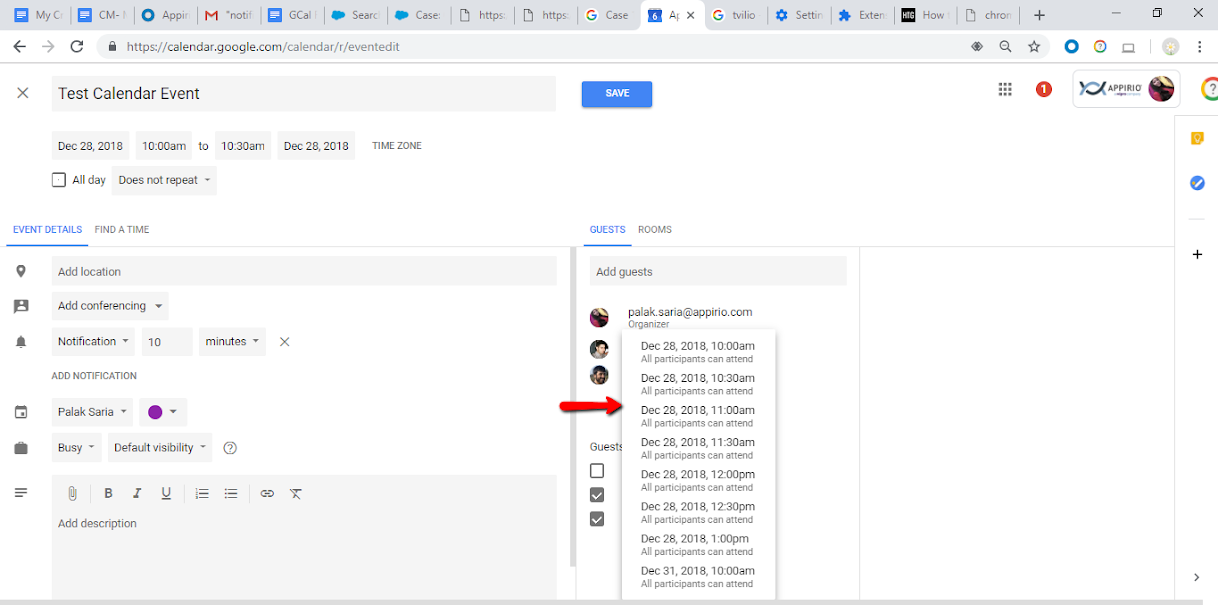 A Google Calendar screenshot and instructions on how to set up the Suggest Times feature with a drop-down of dates and times