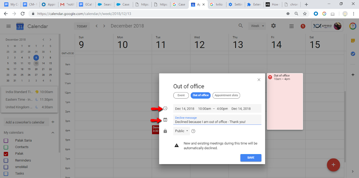 Screenshot of Google Calendar and how to set up Out of Office time slots