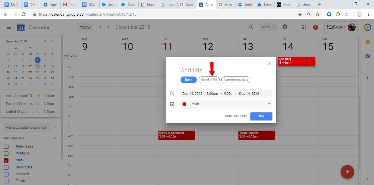 Image of entering information into the Out of Office fields of Google Calendar