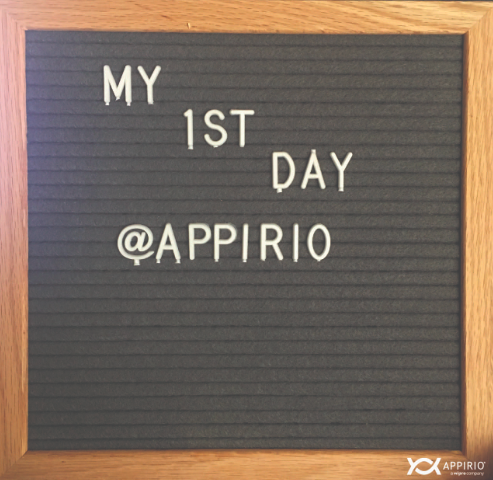 A board saying My 1st Day @ Appirio to depict a nonprofit consulting journey