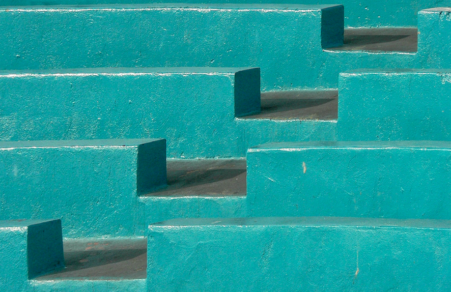 Turquoise blue building blocks that symbolize the foundations for marketing automation