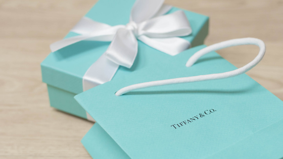 Tiffany & Co. Blue Box with satin bow and shopping bag for the luxury retail experience