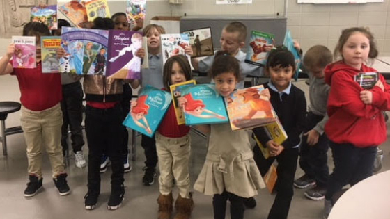 Daniel Webster School students in Indiana share the books they picked from the Appirio and First Book event
