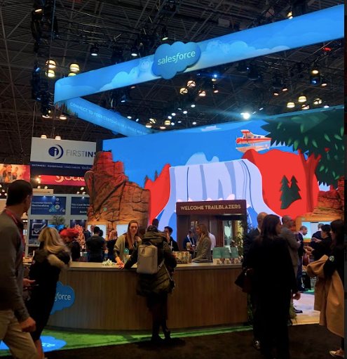 Salesforce exhibit and digital waterfall at the NRF 2019 Big Show