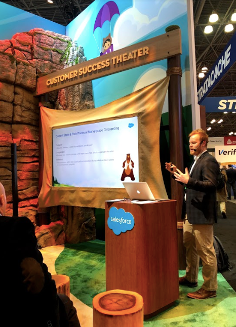 Phil Nemeth presenting the Marketplace Onboarding Bolt at the Salesforce Customer Success Theater at NRF
