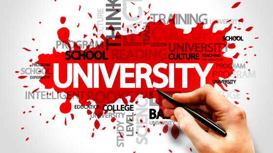 University, think, school, and other words against a white and red background