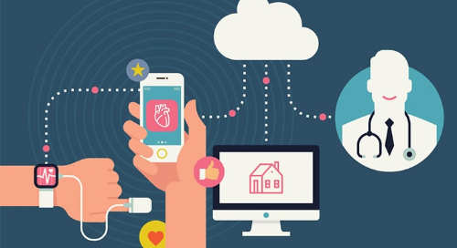 IoT within medical devices illustration with smart watch, tracker, mobile phone, and desktop