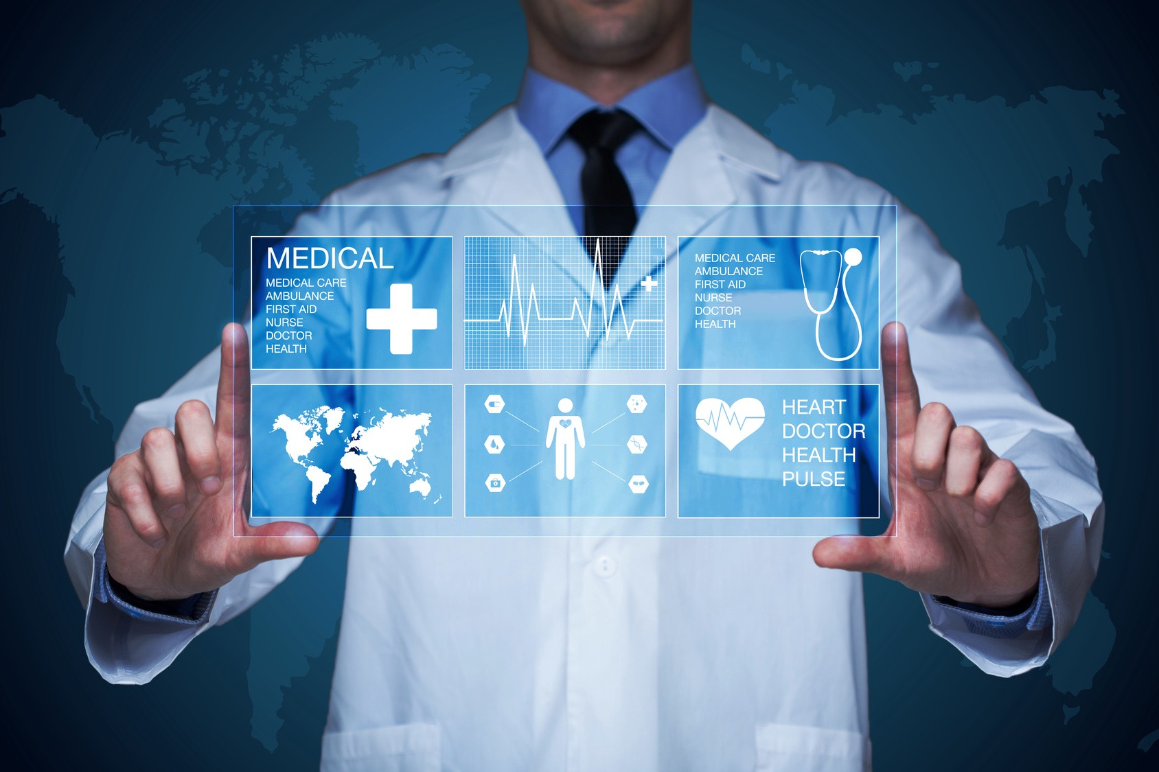 IoT Medical Devices and a doctor wearing a white lab coat