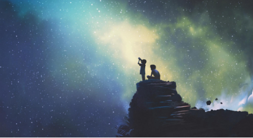 Two children gazing at the stars with a telescope