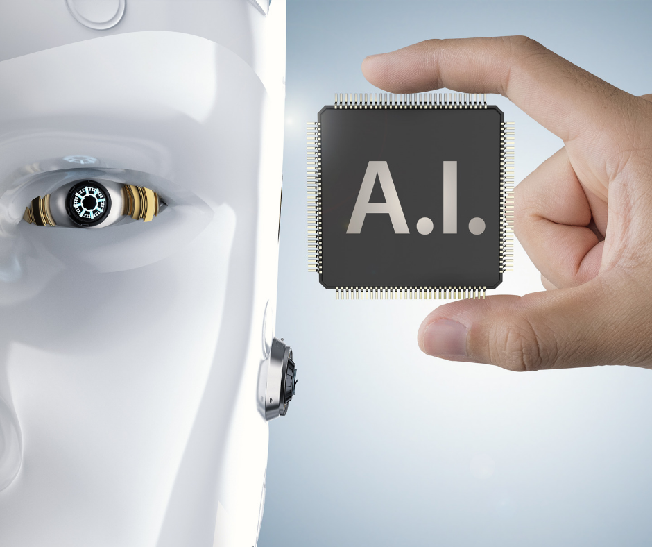 AI face with a hand holding a plaque with the letter A.I.