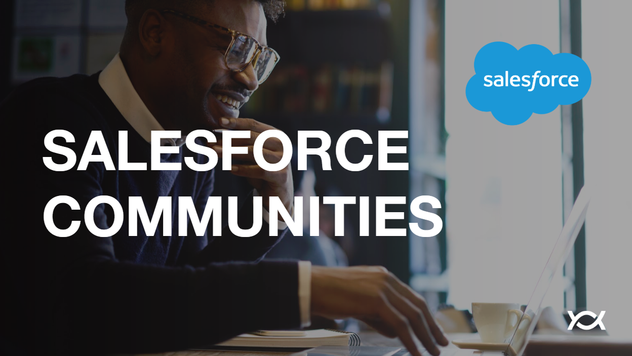 Salesforce Communities man with glasses Salesforce logo and Appirio logo