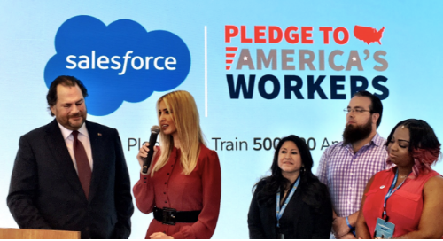 Salesforce CEO and Ivanka Trump at Trailblazer Day making the 1 Million Job Pledge