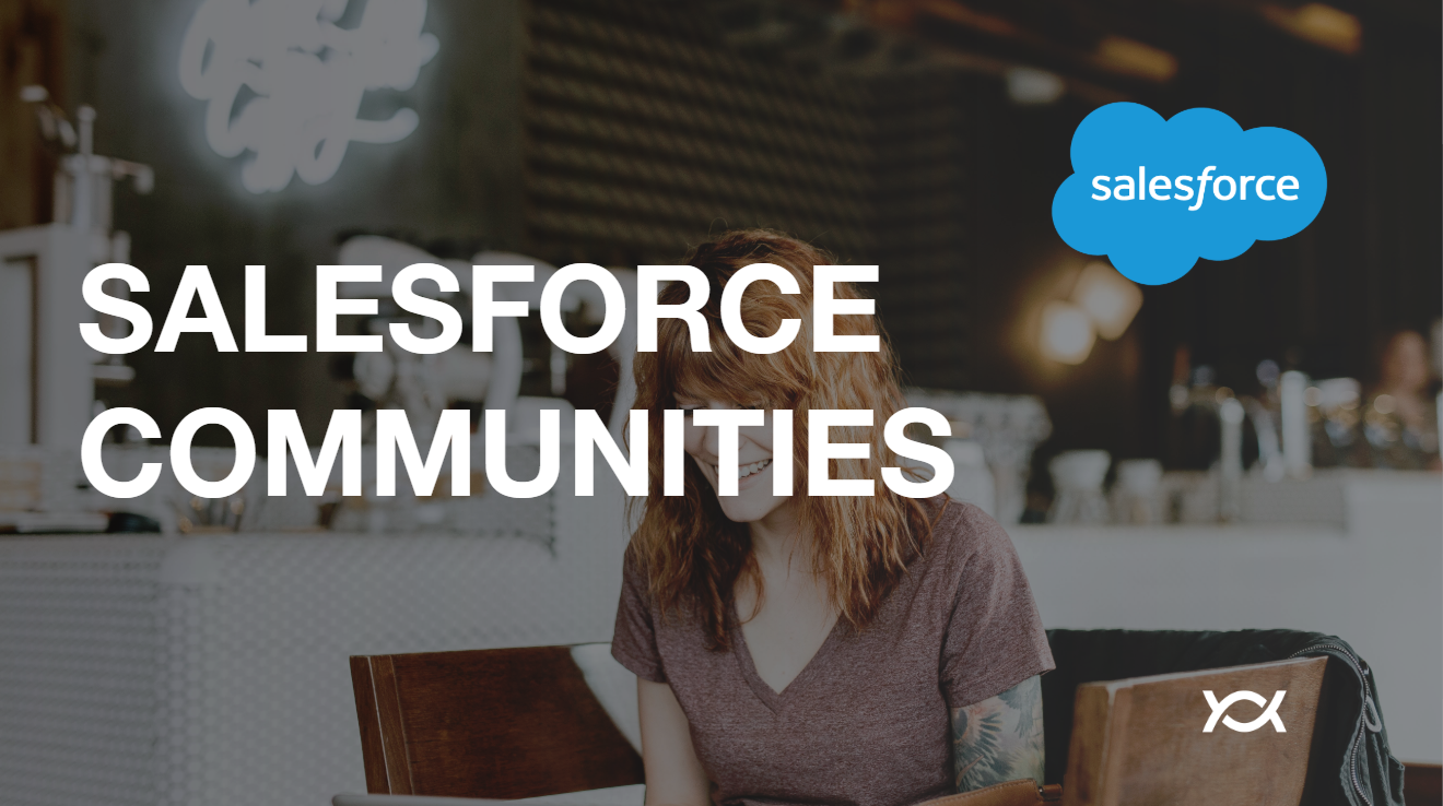 Red-headed woman with tattoo sitting in a cafe text overlay Salesforce Communities, Salesforce logo, and the Appirio logo