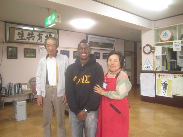 Michael Henry in Japan with his host family