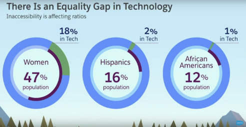 Equality gap in technology percentages for women and minorities