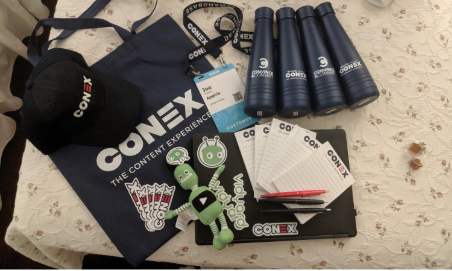 Conex: The Content Experience Swag - bottles, notepads, a baseball cap, Conex stickers