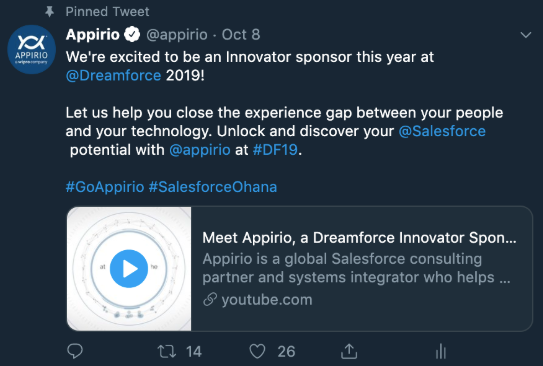 Appirio Best Practices Tweet for Dreamforce Example