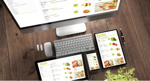 Omnichannel grocery shopping on desktop, tablet, and mobile