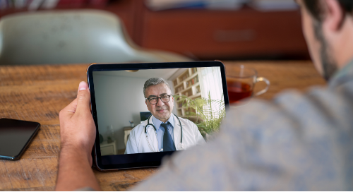 Digital health care delivery on a tablet via telemedicine