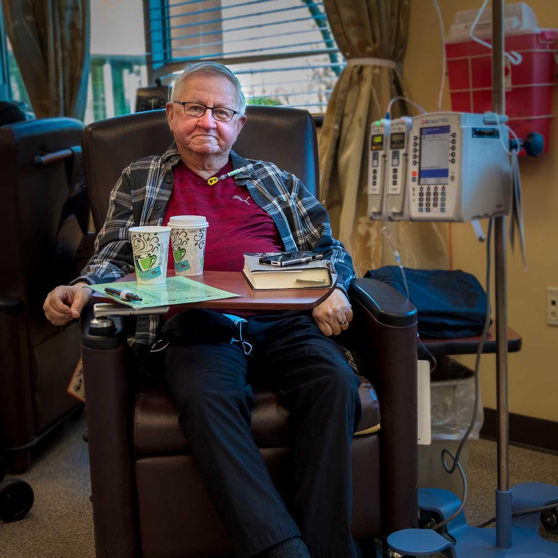 Michael Covey receives treatment.