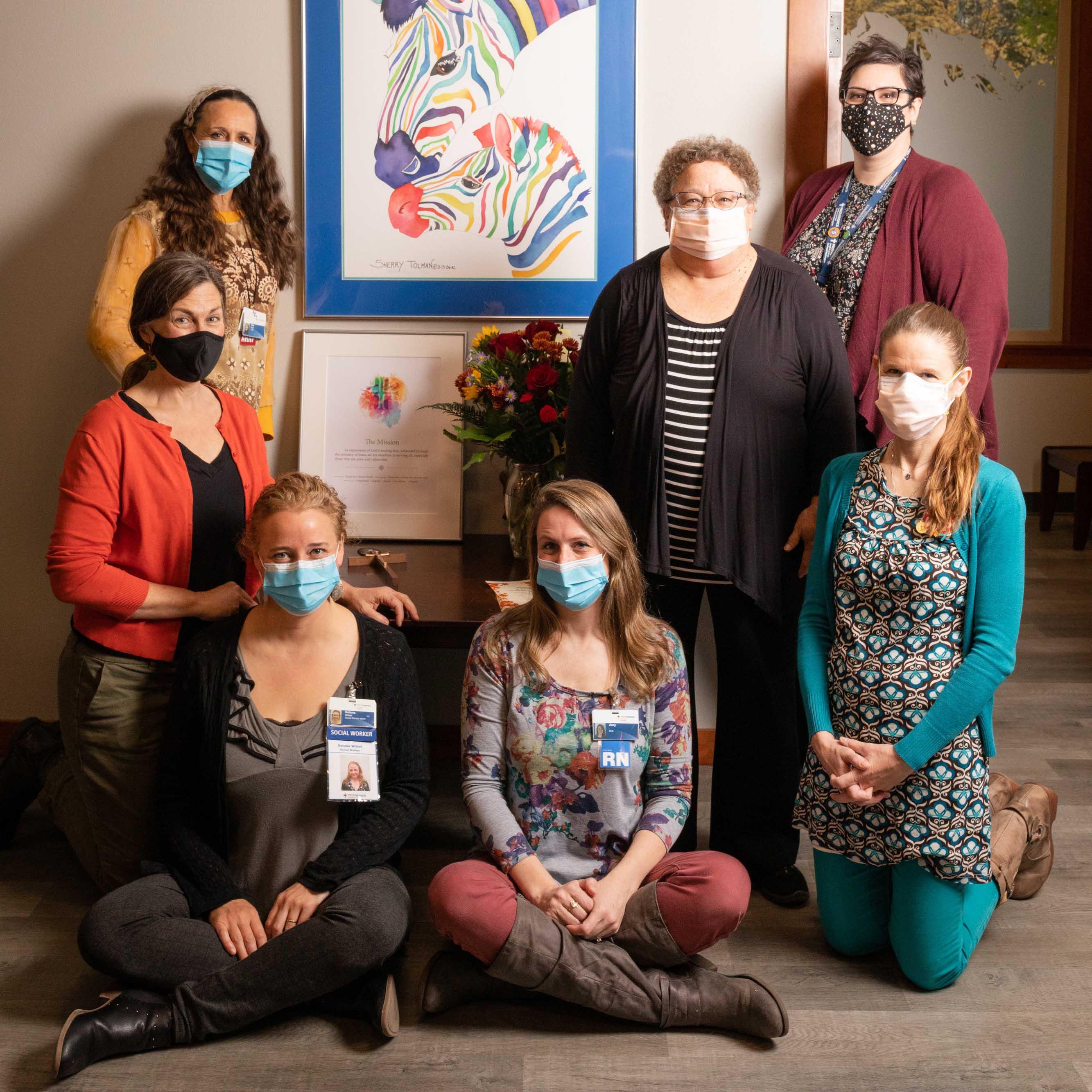 From left to right: Lisa Wahl, Tina Olson, Selona Willett, Amy Kummer, Heather McLeod, Joyce Gilbert, Jennifer Holmes.