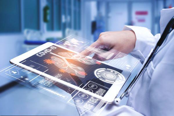 Covid tech and data in a hospital scene