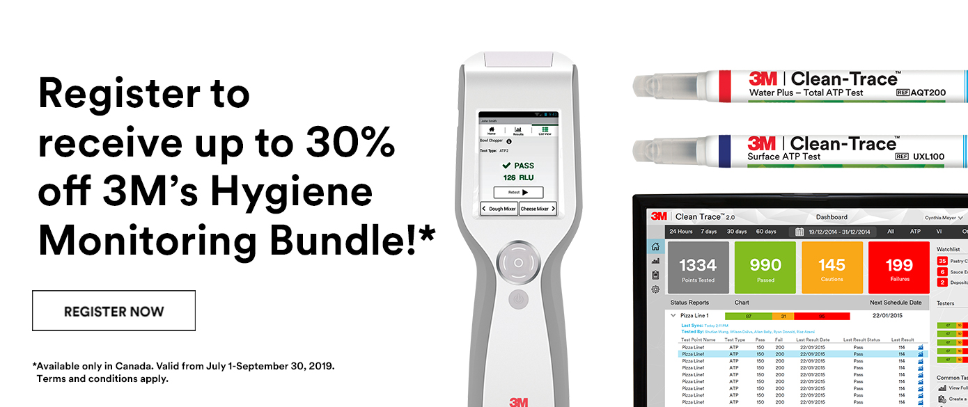 Register to receive up to 30% off 3M's Hygiene Monitoring bundle