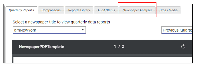 Click on Newspaper Analyzer tab