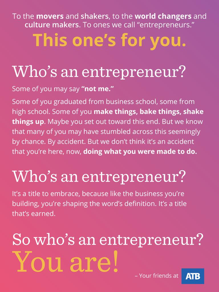 Tablet sized inspirational background for entrepreneurs
