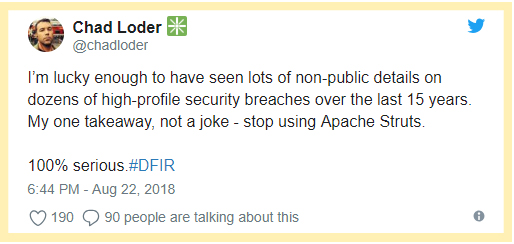 Chad Loder twitt - stop using Apache Struts