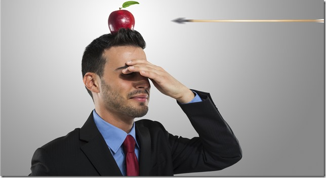 Man with Apple Being Shot Off Head