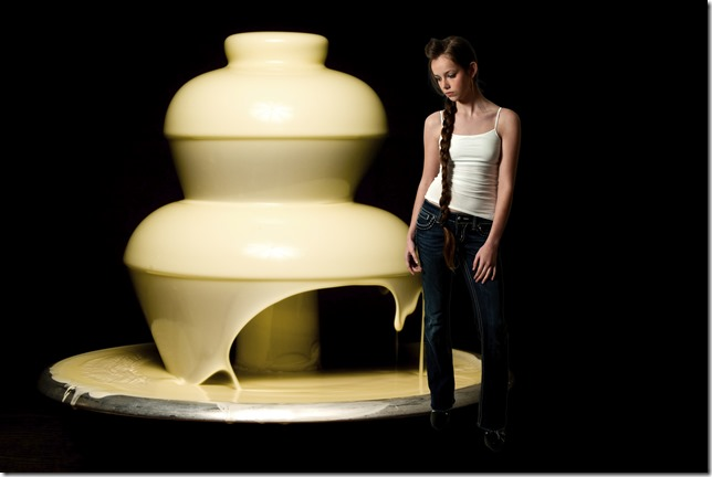Fondue Fountain with Sulking Skinny Model