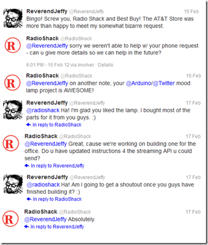 Twitter Conversation with Radio Shack