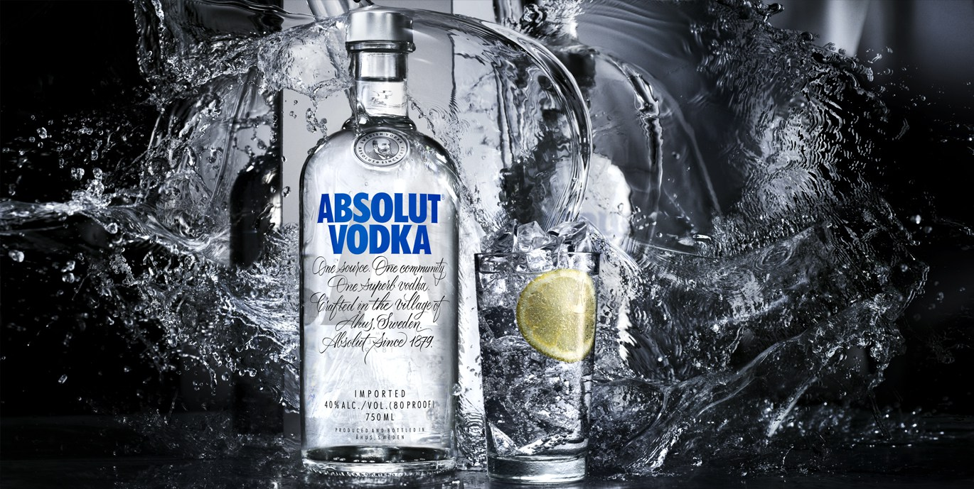 Absolut bottle of vodka and glass