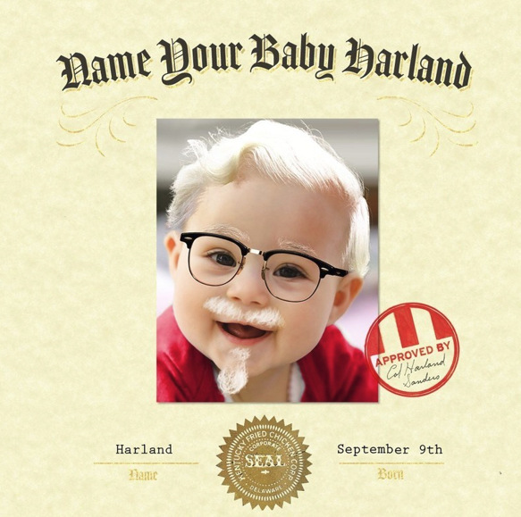 KFC's Latest Marketing Campaign: $11,000 to Parents Who Name Their Baby Harland