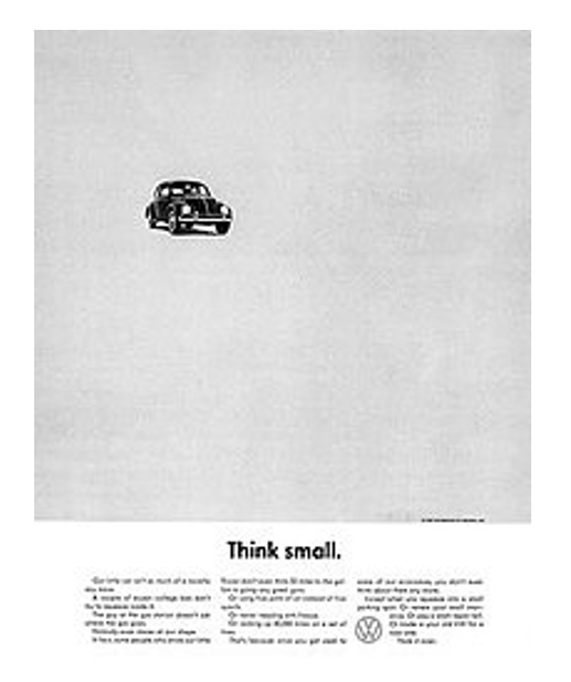 Volkswagen beetle marketing think small