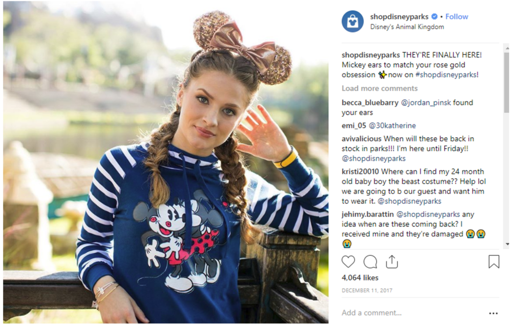 Four months later, in December of 2017, Disney used Instagram to excite fans yet again.