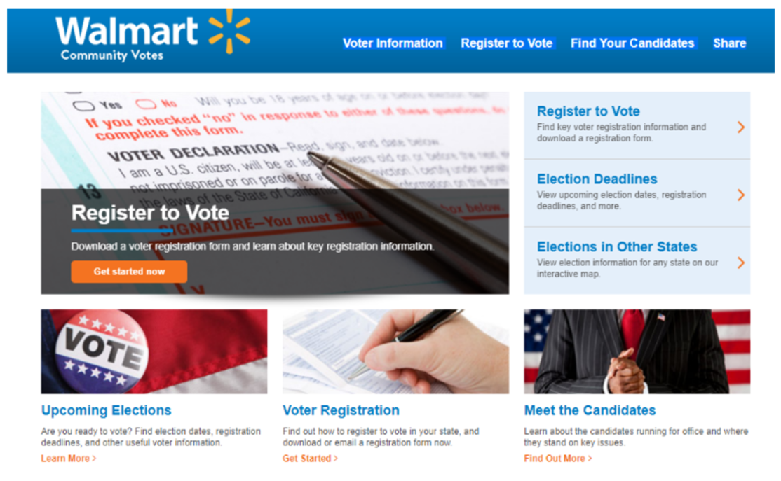 Walmart Community Votes web page voter registration