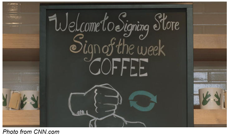 Starbucks U.S. shop American Sign Language (ASL) consumers deaf hard-of-hearing.