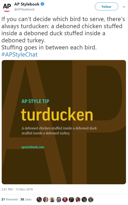 Thanksgiving Turkey, Duck and Chicken AP Stylebook Turducken