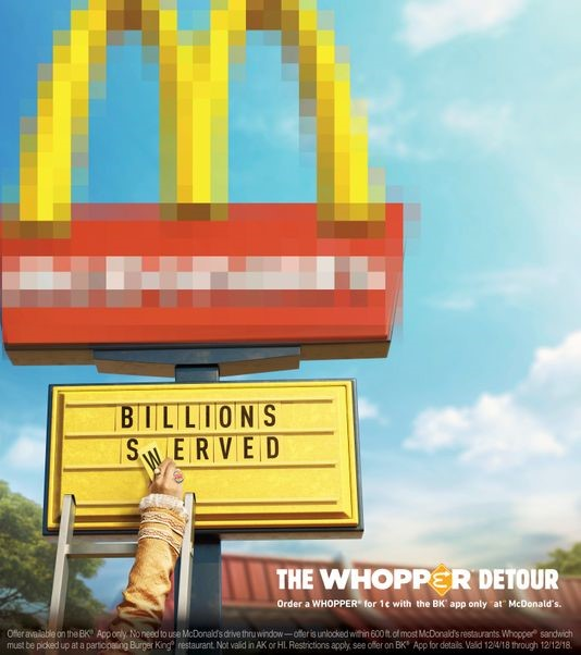 mcdonald's marketing whopper burger king waze BK