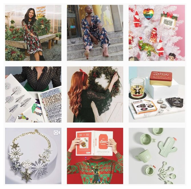 ModCloth, an online thrift shop dedicated to female empowerment, promotes their holiday sweaters through Instagram