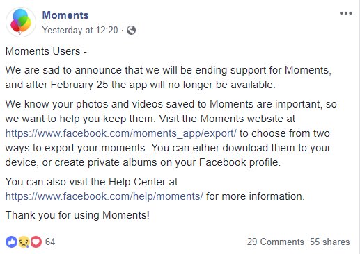 Facebook moments social media marketing moments users
