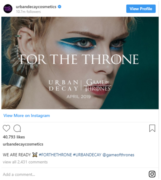 urban decay instagram game of thrones