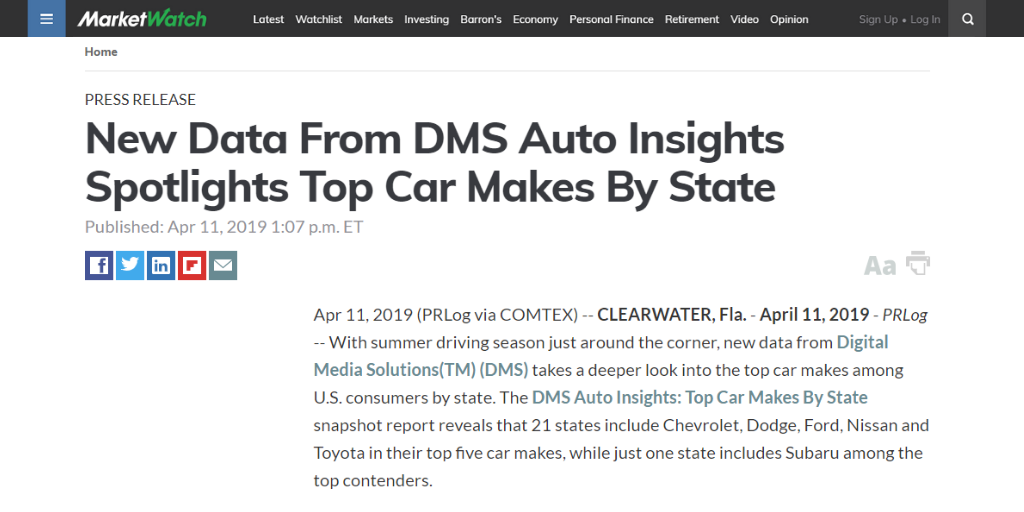 MarketWatch DMS Auto Insights By State