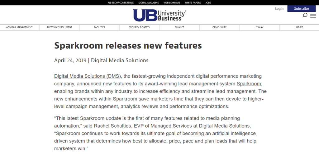 sparkroom university business