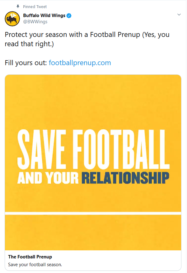Buffalo Wild Wings Football Prenup